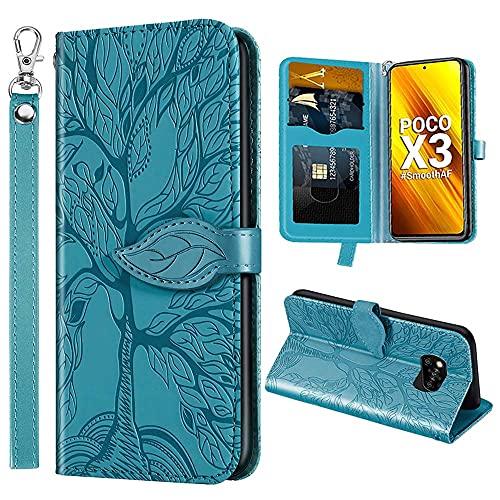 HülleFun xiaomi Poco x3 NFC Hülle, Poco x3 Brieftasche Hülle, Poco x3 NFC Smartphone Life Tree Höhlenmuster Leder Handyhülle Hülle mit Klappständer/Magnetverschluss & Karten Tasche blau