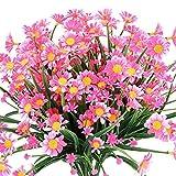 4 Piezas Flores Margarita Artificiales,Resistentes a los Rayos UV Plantas,para Interior y Exterior decoración,hogar Ventana jardín Porche Cocina Colgantes Plantas Decoración (Rosa)