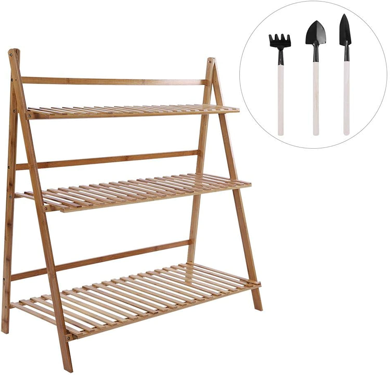 Jeffergrill 3 Tier Bamboo Made Folding Storage Balcony Rack for Flower Pot Standing(L-Brown)