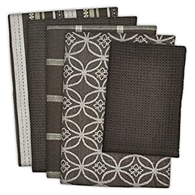 DII Cotton Oversized Kitchen Dish Towels 18 x 28  and Dishcloth 13 x 13 , Set of 5 , Absorbent Washing Drying Dishtowels for Everyday Cooking and Baking-Dark Brown