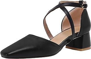 HapyLady Dames Block Medium Hiel Sandalenen Cross Strap Medium Hiel Zomer SHoes Gesp Black size 43 Asian