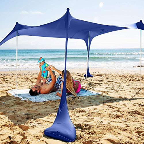 SUN NINJA Pop Up Beach Tent Sun Shelter UPF50+ with Sand Shovel, Ground Pegs and Stability Poles, Outdoor Shade for Camping Trips, Fishing, Backyard Fun or Picnics (7x7.5 FT 2 Pole, Royal Blue)