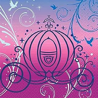 Cinderella Printed Beverage Napkins Disney Princess Birthday Party Tableware (16 Pack), Pink, 5