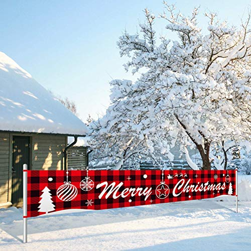 Insuwun Merry Christmas Banner Large Xmas Sign Huge Xmas House Home Outdoor Party Decoration (Plaid)