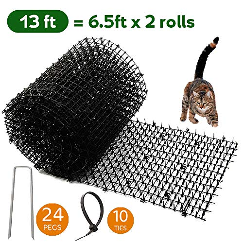 Worthofbest Cat Scat Mat, Cat Repellent Outdoor, Cat Deterrent Devices Spikes Mat Include 24 Garden Staples and 10 Twists, Keep cat Off Counter, Digging Deterrent for Dogs, 13.1 ft Extra Long