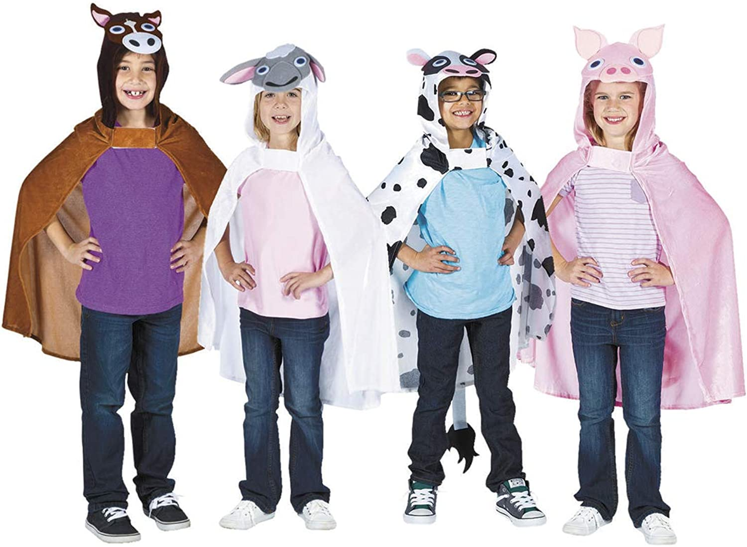 Farm Animal Hooded Capes (Generic) - Costumes from Fun365- 4 per Pack