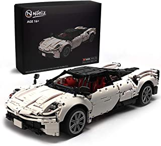Nifeliz Sports Car HURA MOC بلوک های ساختمانی و اسباب بازی های مهندسی ، مدل های کلکسیونی بزرگسالان که قرار است ساخته شوند ، مدل اتومبیل سفید مقیاس مقیاس 1: 9 (2209 عدد)