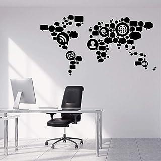 Wall Stickers Signs Network Wall Decal Teen Vinyl Window Stickers Social Media World Map Creative Wallpaper Office Studio ...