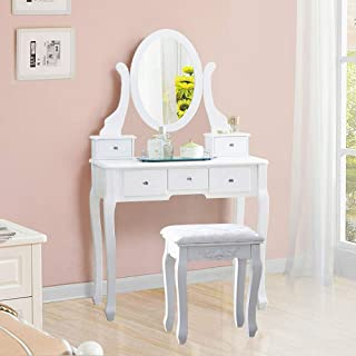 ARB MARKET Table Jewelry Makeup Desk Bench Dresser W/Cushioned Stool/Set With Cushioned Stool And 5 Drawers,3 Removable Dividers Vanity (White)