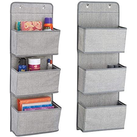 Charcoal Gray//Black mDesign Soft Fabric Wall Mount//Over Door Hanging Storage Organizer Holds Office Supplies Planners 3 Large Cascading Pockets File Folders Textured Print Notebooks