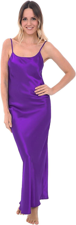 Alexander Del Rossa Del Rossa Womens Satin Nightgown, Adjustable Camisole Chemise