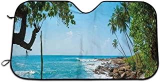 Car Windshield Frost Cover, Tropical Ocean Scenery with Palm Trees And Fishing Boats Dust-proof Heatshield Protector, Portable Auto Window Sun Shades Fits Windshields Of Various Sizes 27.5 x 51 In