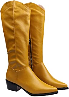 Guoxn Womens Leather Knee High Boots Pointed Toe Chunky Block Low Heels Zipper Winter Snow Boots Wide Calf Waterproof Motorcycle Western Cowboy Comfort Boot Mid Calf Riding Booties