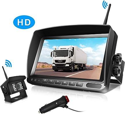 $159 Get Digital-Wireless Backup Camera and 7 Inch Monitor Kit IP69K Waterproof Front-Rear View Camera for Car/Trucks-RV-Van/Trailer/Bus/Camper URVOLAX Split Screen Adjustable Guide Lines ON/Off,Night Vision