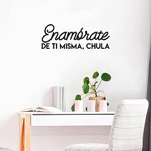 Vinyl Wall Art Decal - Enamorate De Ti Misma, Chula / Fall in Love with Yourself, Cute - 10' x 27