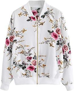comprar comparacion Overdose Las Nuevas SeñOras De Las Mujeres Retro Floral O-Cuello Zipper Up Bomber Mejor Venden Chaqueta Casual Outwear