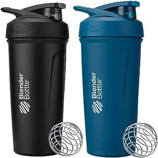 BlenderBottle 24 Ounce Strada Insulated Stainless Steel Protein Shaker Bottle - Ocean Blue and Black Combo - Double Wall V...