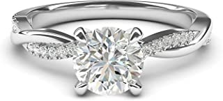 10k White Gold 4-Prong Petite Twisted Vine Simulated 1.0 CT Diamond Engagement Ring Promise Bridal Ring