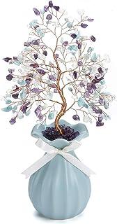 JSDDE Arbre de Vie Pierre Décoration avec Vase Arbre FengShui Guérison Arbre du Bonheur Cristal Vase en Céramique