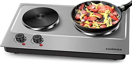 Cusimax Hot Plate Electric Double Burner Cast Iron Heating Plate Indoor&Outdoor Stove..
