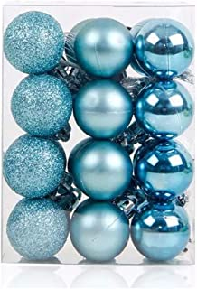 TangTanger Christmas Ball Assorted Pendant Shatterproof Ball Ornament Set Seasonal Holiday Wedding Party Decorations(24 pcs, 3 cm) (Blue)