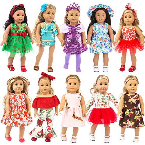 ZITA ELEMENT 23 Pcs Girl Doll Clothes Dress for American 18 Inch Doll Clothes and Accessories - Including 10 Complete Set of Clothing Outfits with Hair Bands, Hair Clips, Crown, Cap and Straw Hat