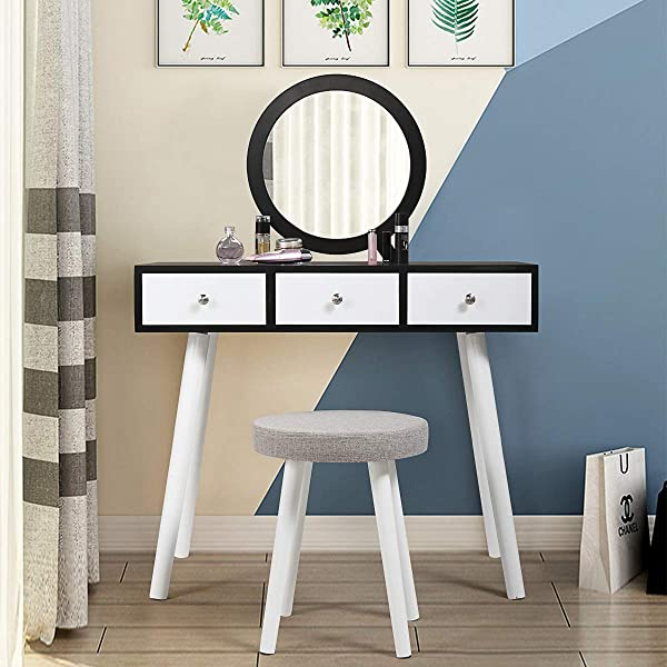 Tobbi Dressing Table And Stool 3 Sliding Drawers Makeup Vanity Table Set With Round Mirror