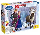 Lisciani Puzzle para niños de 60 piezas 2 en 1, Doble Cara con reverso para colorear - Disney Frozen La Reina de las nieves- La isla de hielo 49295