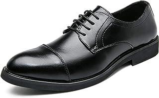 DADIJIER Oxfords Zapatos de Vestir para Hombres Redondo Captoe 5-Ojo Encaje Arriba Grueso Bloque tacón de Cuero sintético ...