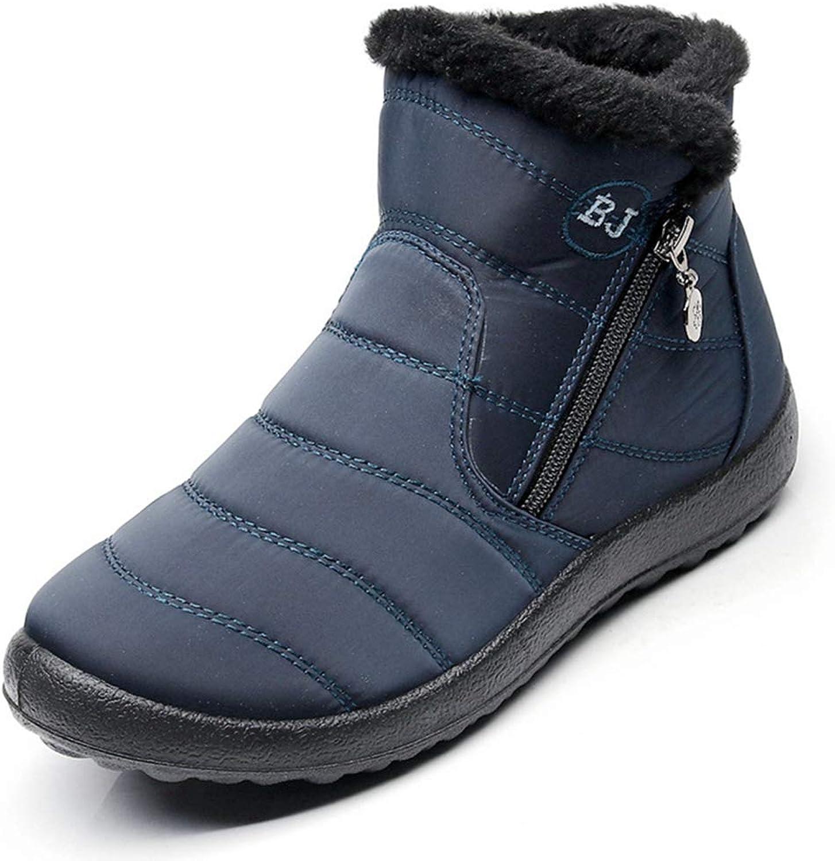 Saborz Women Boots Snow Plush Fur Warm Waterproof Flat Casual shoes Winter Bootie