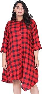 Lastinch Women's Rayon A-line Shirt Dress