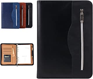 Gift for Men,SAYEEC A5 Executive Conference Folder Travel Portfolio Ringbinder Folio Zip Around PU Leather Loose Leaf Refillable Lined Paper Business Notebook Zipped Organiser with Calculator