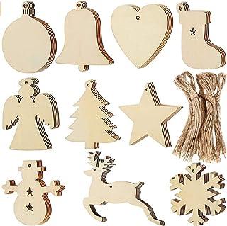 VIPNAJI Adornos Arbol Navidad Madera 158pcs, Colgantes de Navidad, Decoracion Arbol Navidad, Etiquetas Navidad Regalo En B...