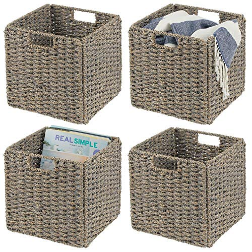 mDesign Set of 4 Storage Basket – Foldable Water Hyacinth Storage Box – Basket Storage Unit Ideal for Storing Clothes, Toys or Magazines – with Wickerwork Pattern – Grey