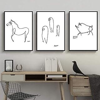 CNHNWJ Abstracto Blanco y Negro Dibujo Lineal Animales Cerdo Caballo Pingüino Bocetos Impresión de póster Lienzo Pintura Imagen de la Pared Decoración de la habitación del hogar 40x60cmx3 / sin Marco