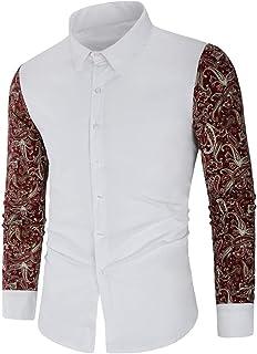 NOBRAND Camisa de manga larga para hombre con bordado en contraste de manga larga
