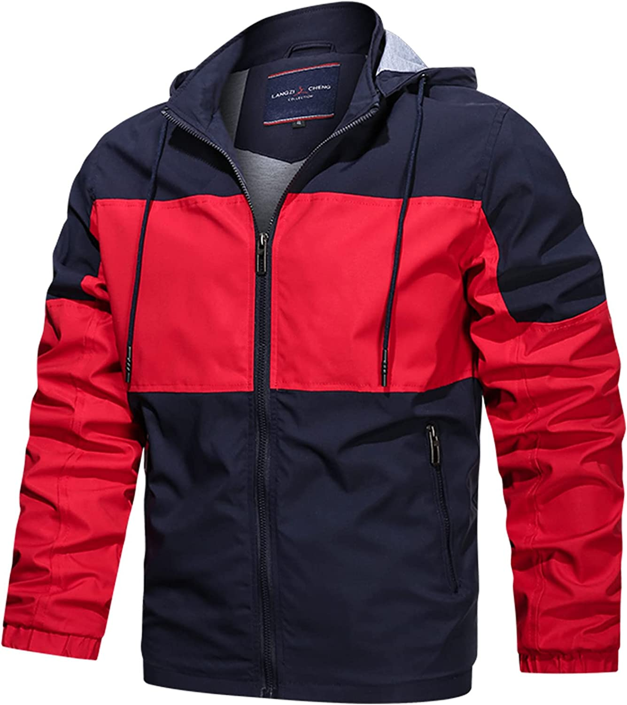 Jacket for Men Fashion Windbreakers Windproof Waterproof Casual Color Block Hooded Zipper Biker Motorcycle Jacket Coat