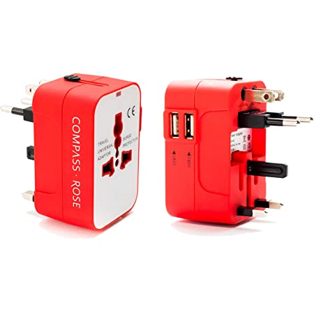 Best International Travel Adapter for Europe, Asia (Universal Travel Plug Charger with World USB Adapter) Red, by Travel Fashion Girl