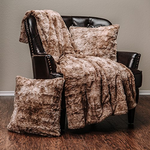 Chanasya 3-Piece Faux Fur Throw Blanket Pillow Cover Set - Sherpa Throw (50x65 Inches) 2 Throw Pillow Covers (18x18 Inches) for Couch, Bed, Chair and Sofa - Beige