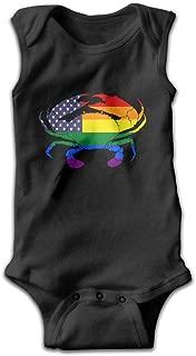Rainbow America Flag Crab Unisex Baby 100% Cotton Sleeveless Lap Shoulder Bodysuits