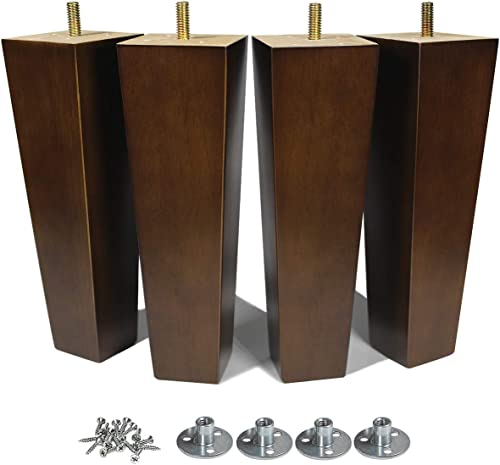 AORYVIC Wood Furniture Legs 8 inch Sofa Legs Set of 4 Square Replacement Legs Brown for MCM Ottoman Armchair Recliner...