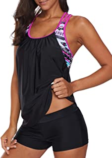7626fd87e8 Asvivid Women Tankini 2 Pcs Swimwear T Back Swimsuit Top with Boyshort  Bottom Size 8-