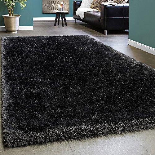 Paco Home Edler Teppich Shaggy Hochflor Einfarbig Flauschig Glänzend In Anthrazit, Grösse:80x150 cm