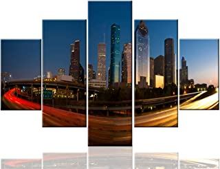 Native American Art Houston Paintings Texas Wall Art Cityscape Night Extra Large Pictures Modern Artwork 5 Panel Canvas Home Decor for Living Room Framed Ready to Hang Posters and Prints(60''Wx40''H)