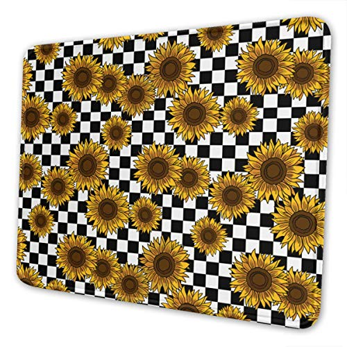 Mouse Pad 90s Sunflowers Checkerboard (2) Non-Slip Rubber Base Stitched Edges Gaming Mousepad for Computers Laptop