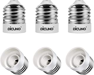 DiCUNO E26 to E12 Socket Adapter, Standard Medium to Candelabra Base LED Bulb Converter, 0~48V Max 200W and 165℃ Heat-Resistant E26 Medium Adapter, 6-Pack