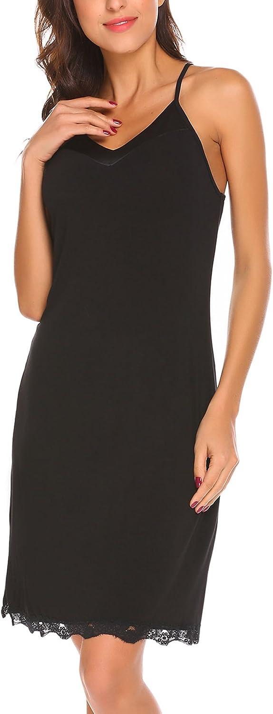 MAXMODA Womens Chemise Sleepwear VNeck Nightgown Full Slip Lace Lounge Dress