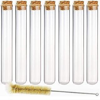 DEPEPE 12pcs 80ml لوله آزمایش شیشه ای 25 × 200mm با کرک کرکره و 1 قلم مو