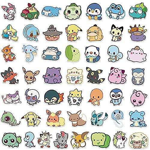 MENGYUE Dessin Animé Anime Q Version Pokémon Graffiti Autocollants Décoration Planche À roulettes Valise Tasse d'eau Guitare Étanche Jouet Casque Autocollants 50 Pcs
