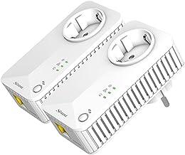 Strong Kit de 2 adaptadores Powerline 500 línea eléctrica PLC (Homeplug AV, Velocidad 500 Mbit/s, Toma de Corriente, 1x LAN, Rango de 300 m, para Videojuegos IPTV, HD y UHD) Blanco